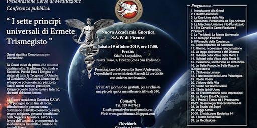 """PRESENTAZIONE CORSO DI MEDITAZIONE: """"LA GNOSI UNIVERSALE"""" SABATO 19 OTT'19"""