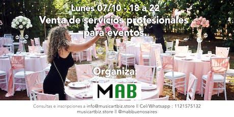 Venta de servicios profesionales para eventos. entradas