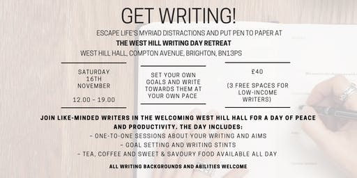 Get Writing! The West Hill Writing Day Retreat