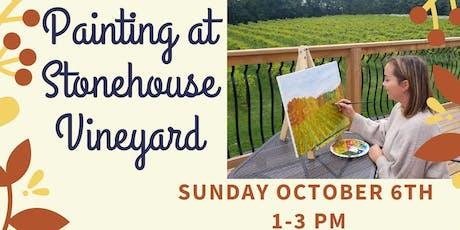 Painting at Stonehouse Vineyard billets