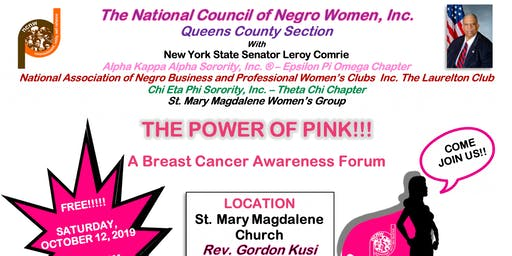 "NCNW, Inc. Queens County Section - A Breast Cancer Awareness Forum ""THE POWER OF PINK"""