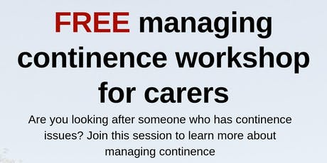 FREE - Managing Continence Workshop tickets
