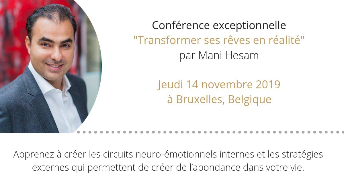 """Confrence &quotTransformer ses rves en ralit"""" le 14 Novembre 2019  Bruxelles"""