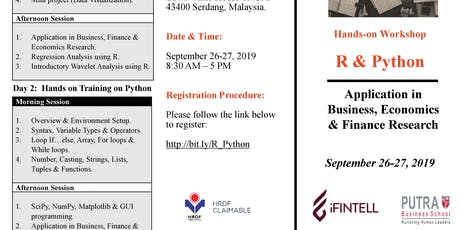 Workshop on R  & Python (Application in Business, Economics & Finance) tickets