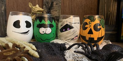 Spooky Halloween Stemless Wine Glass Paint and Sip-Russo's