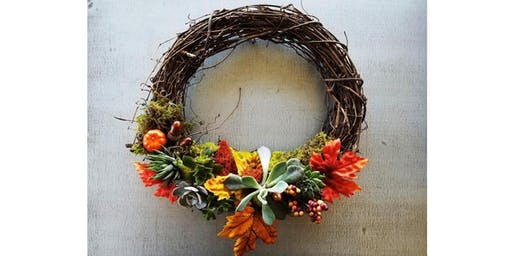 10/16 - Fall Succulent Wreath @ Nectar Catering and Events, Spokane