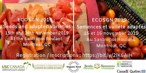 ECOSGN 2019 : Semences et variétés adaptées // Seeds and Adapted Varieties