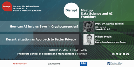 German Blockchain Week 2019 | AI for Blockchain and Digital Privacy Tickets