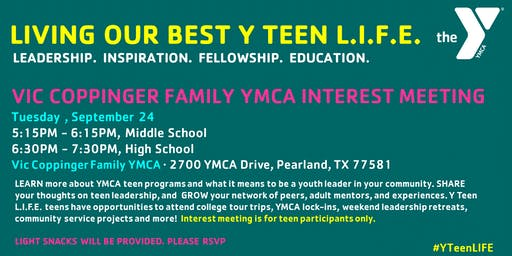 VIC COPPINGER Y TEEN L.I.F.E. INTEREST MEETING