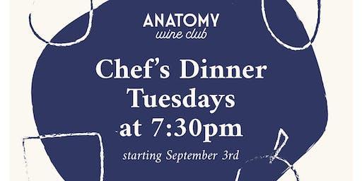 Anatomy Wine Chef's Dinner - September 17th