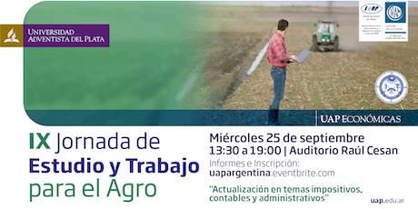 IX Jornada de Estudio y Trabajo para el Agro entradas