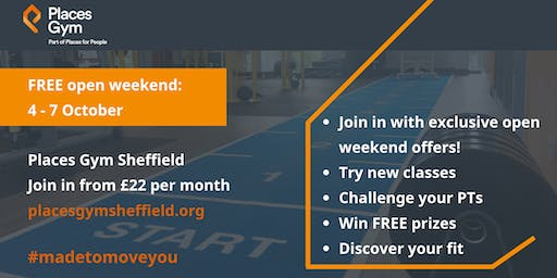 Places Gym Sheffield, free open weekend