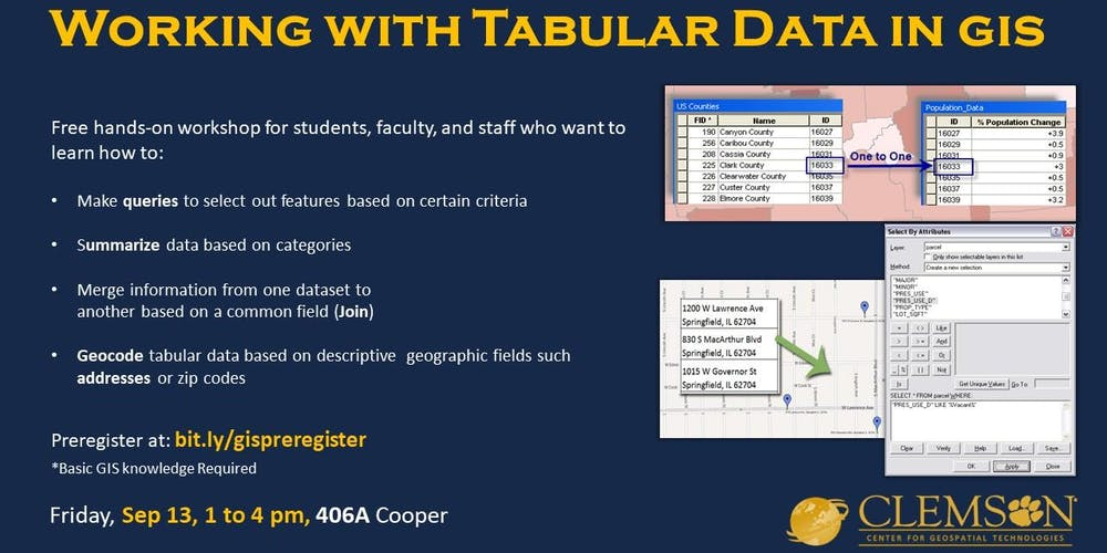 Working with Tabular Data (in ArcGIS Pro) Registration, Fri