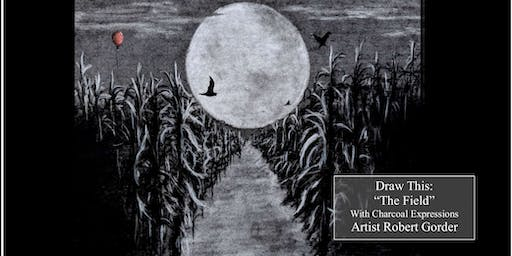 """Charcoal Drawing """"The Field"""" in Richland Center"""