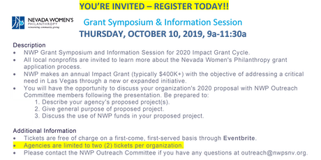 NWP Grant Symposium & Info Session: Thursday, Oct. 10, 2019, 9a-11:30a tickets
