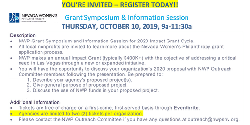 NWP Grant Symposium & Info Session: Thursday, Oct. 10, 2019, 9a-11:30a