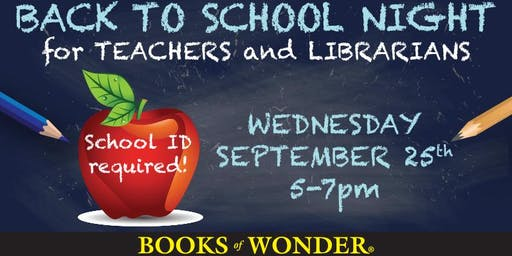 Back to School Night for Teachers Librarians, the Sequel!