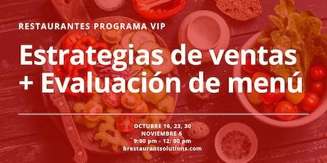 Restaurantes; Programa VIP Estrategias de Ventas + Evaluación de Menú tickets