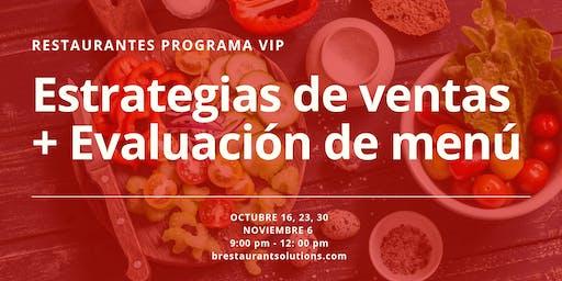 Restaurantes; Programa VIP Estrategias de Ventas + Evaluación de Menú