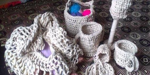 Bilum weaving workshop with Aunty Vicki Kinai