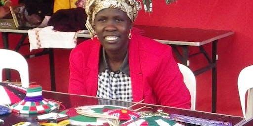 Mary Anwat South Sudanese basket weaving workshop