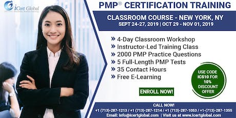PMP® Certification Training Course in New York, NY, USA   4-Day PMP® Boot Camp with PMI® Membership and PMP Exam Fees Included tickets
