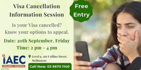 Free Info session about visa cancellation tickets