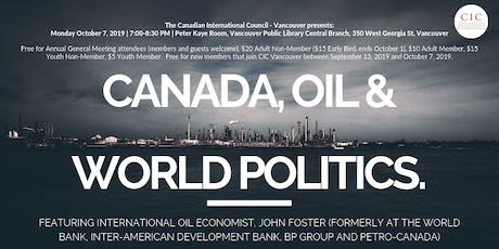 Canada, Oil and World Politics tickets