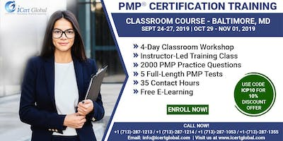 PMP® Certification Training Course in Baltimore, MD, USA | 4-Day PMP® Boot Camp with PMI® Membership and PMP Exam Fees Included.
