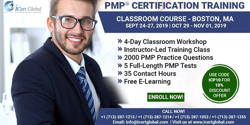 PMP® Certification Training Course in Boston, MA, USA | 4-Day PMP® Boot Camp with PMI® Membership and PMP Exam Fees Included.