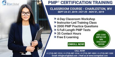 PMP® Certification Training Course in Charleston, WV, USA | 4-Day PMP® Boot Camp with PMI® Membership and PMP Exam Fees Included.