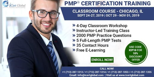 PMP® Certification Training Course in Chicago, IL, USA| 4-Day PMP® Boot Camp with PMI® Membership and PMP Exam Fees Included.