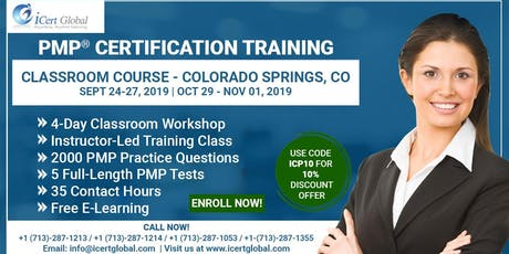 PMP® Certification Training Course in Colorado Springs, CO, USA| 4-Day PMP® Boot Camp with PMI® Membership and PMP Exam Fees Included. tickets