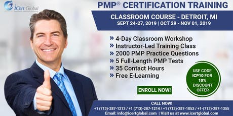 PMP® Certification Training Course in Detroit, MI, USA| 4-Day PMP® Boot Camp with PMI® Membership and PMP Exam Fees Included. tickets