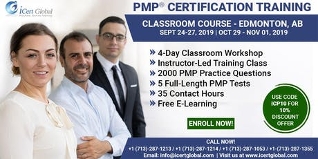 PMP® Certification Training Course in Edmonton, AB, USA| 4-Day PMP® Boot Camp with PMI® Membership and PMP Exam Fees Included. tickets