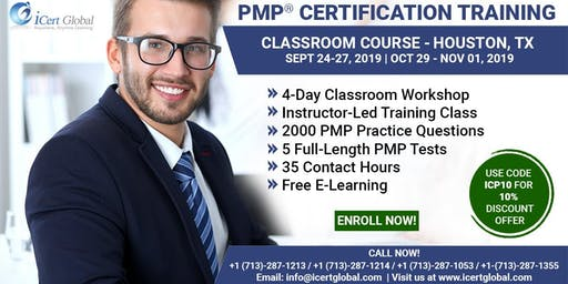 PMP® Certification Training Course in Houston, TX, USA| 4-Day PMP® Boot Camp with PMI® Membership and PMP Exam Fees Included.