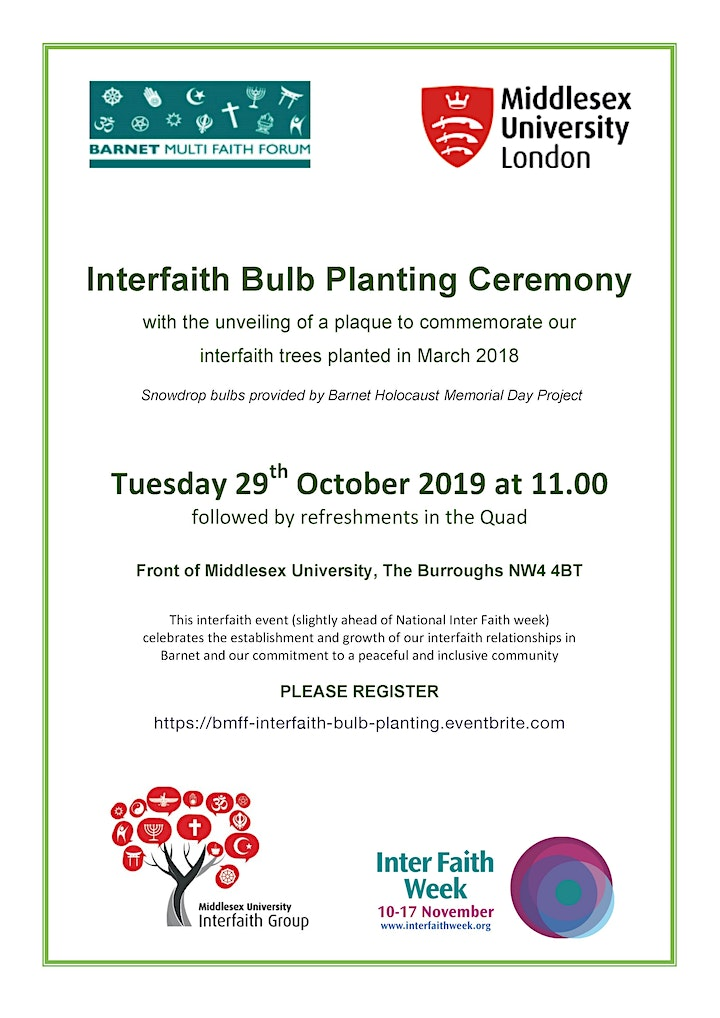 Interfaith Bulb Planting Ceremony at Middlesex University image