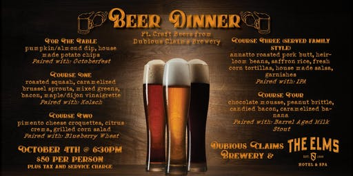 Beer Dinner at The Elms