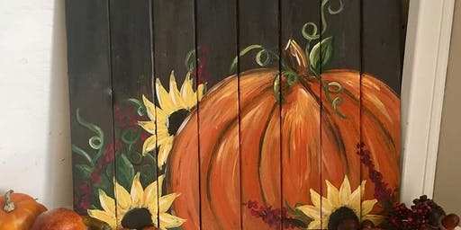 Pumpkin Pallet with Sunflowers