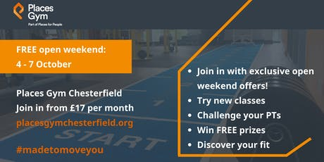 Places Gym Chesterfield, free open weekend tickets