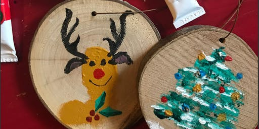 Paint Your Own Wood Slice Ornaments at Gather: Family Session