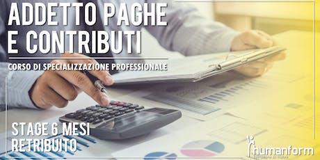 Addetto paghe e contributi - Corso di formazione professionale, 3a edizione biglietti