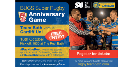 BUCS Super Rugby Anniversary Game 2019 proudly sponsored by RenGen tickets
