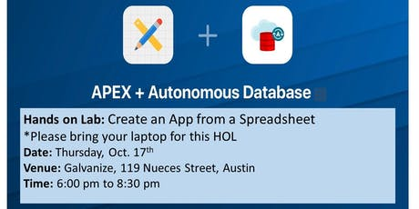 Oracle APEX on ATP Hands-On Lab: Create an App from a Spreadsheet tickets