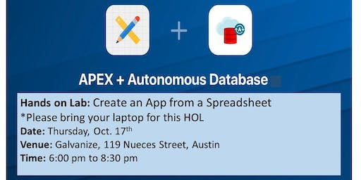 Oracle APEX on ATP Hands-On Lab: Create an App from a Spreadsheet