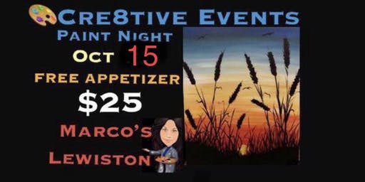 $25 Paint Night FREE APPETIZER @ Marcos Lewiston- Sue