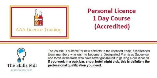 Personal Licence 1 Day Course (Accredited) Nov19