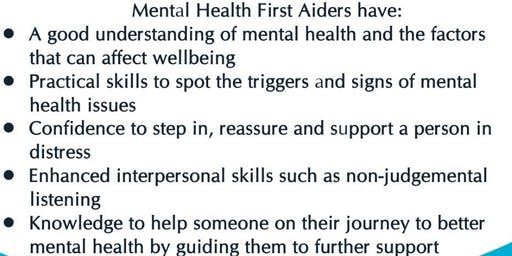 MENTAL HEALTH FIRST AID COURSE - Would you know what to do?