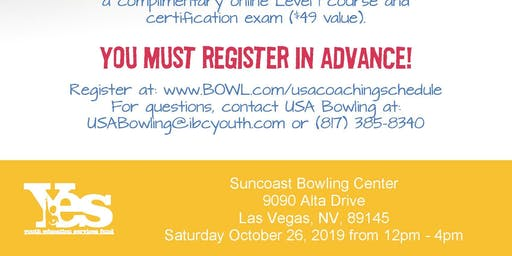 FREE USA Bowling Coach Certification Seminar - Suncoast Bowling Center, Las Vegas, NV