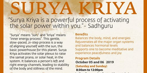Hatha Yoga - Surya Kriya October 05 and 06 2019